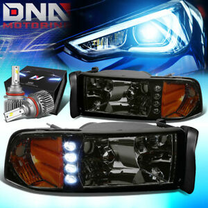 For 1994 2001 Dodge Ram 1500 2500 Signal Headlights W led Kit Slim Style Smoked