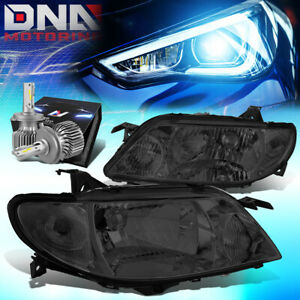 For 2001 2003 Mazda Protege Oe Style Headlight Lamps W Led Kit Slim Style Smoked