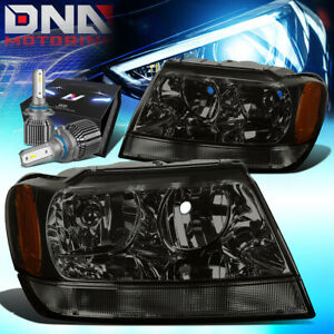 For 1999 2004 Jeep Grand Cherokee Wj Headlight Lamps W led Kit cool Fan Smoked