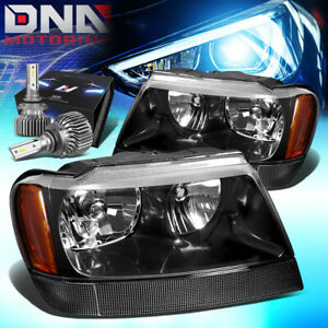 For 1999 2004 Jeep Grand Cherokee Wj Headlight Lamps W Led Kit Slim Style Black