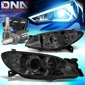For 2004 2009 Mazda 3 Sedan 4dr Projector Headlight Lamps W Led Kit Cool Fan