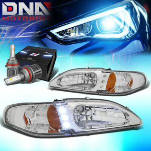 For 1994 1998 Ford Mustang Led Drl Signal Headlight W Led Kit Cool Fan Chrome