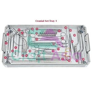 Cranial Tray 1 Set Of 28 Pieces Of Surgical Neurosurgical Instruments