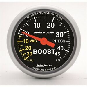 Autometer 3308 Sport comp Mechanical Boost vacuum Gauge