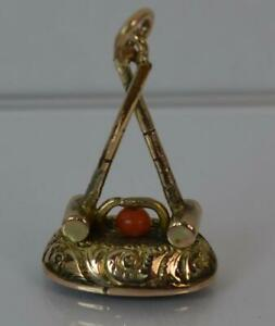 Antique Gold Cased Coral Croquet Design Bloodstone Seal Pendant Fob T0083