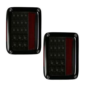 Recon 264234bk Smoked Led Tail Lights For 2007 2018 Jeep Wrangler Jk