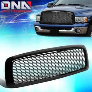 For 2002 2005 Dodge Ram 1500 3500 Glossy Black Mesh Front Bumper Grille Grill