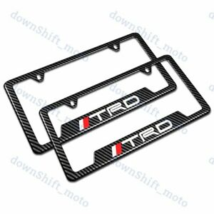 For Trd Carbon Fiber Look License Plate Frame Abs X2 New