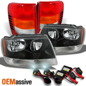 Fit 99 04 Jeep Grand Cherokee Black Headlights Tail Lights 6k Hid