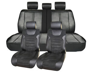 Pu Leather W Suede Full Car Seat Covers Cushion Front rear For Jeep 9029 Bk