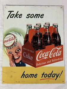 Vintage Retro Coca-Cola Take Some Home Today Metal Tin Sign Made In USA 16x12.5