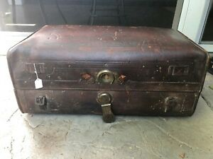 Antique 1800 S Leather Travel Trunk Suitcase