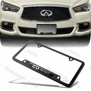 For X1 Nissan Infiniti Black Metal Stainless Steel Plated License Plate Frame
