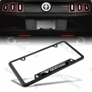 For 1pcs Mustang Black License Plate Frame Stainless Steel Metal New