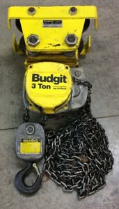 Budgit Lift Tech 3 Ton Chain Hoist I Beam Trolley Manual Yellow