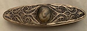 Antique Oval Silver Filigree Toothpick Box With A Miniature Framed Portrait Of A