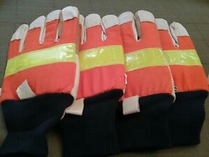 Lot Of 2 65 Leather 35 Cotton Safety Reflective Gloves Sz M Free Shipping