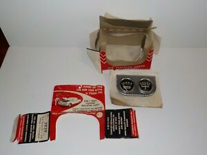 Vintage Nos Panel 2 Gauge Set Amperes Engine Oil Pressure 3939 Accurate Prod