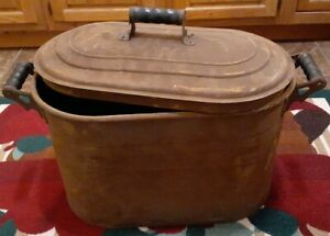 Antique Rustic Large Copper Ware Trough Wash Basin Cauldron Pot Kettle Vintage