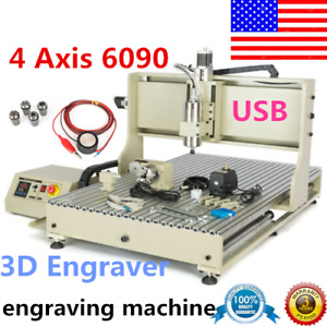 Usb 2 2kw 4axis Cnc 6090 Router 3d Engraver Engraving Drill Milling Machine Vfd