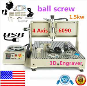 Usb 4 Axis 1 5kw Cnc 6090 Router 3d Engraver Engraving Drill Mill Machine Cutter