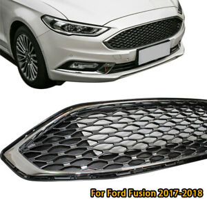 Black Chrome Front Bumper Grille Honeycomb Mesh Grill For Ford Fusion 2017 2018