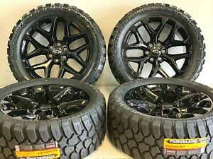 22 Oem Factory Black Cadillac Chevy Silverado Gmc Sierra Wheels Rims Tires Ck1