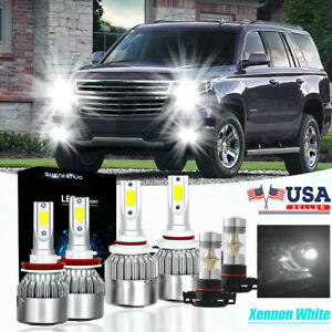 Bright Combo Led Headlight Bulb High Low Beam fog Lights For Chevy Tahoe 2015 19