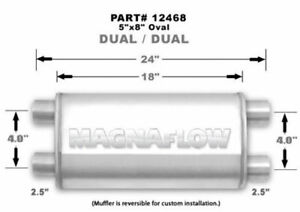 Magnaflow Perf Exhaust Stainless Muffler 2 5in Dual In Dual Out P n 12468