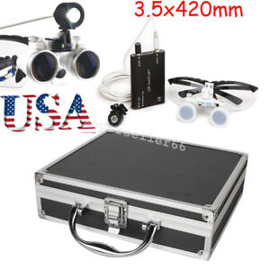Dental Surgical Medical Loupe Binocular Loupes 3 5x420mm Led Head Light Case A