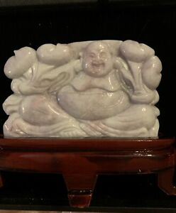 Antique Vintage Carved Purple Jade Buddha With Wood Stand