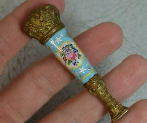 Victorian Brass And Ceramic Enamel Table Seal Fob Circa 1870 T0677
