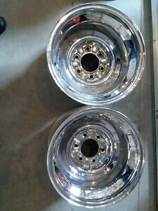 Firestone Chrome Reverse 6 Bolt 15x10 4 5 Back Spacing Wheels New Nos Chevy 1970