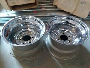 Vintage 1970 s Chrome Reverse 6 Bolt 15x8 3 25 Back Spacing Wheels New Nos Chevy