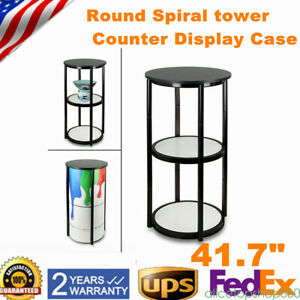 New 41 7 Round Portable Folding Twister Tower Display Case With Clear Panels Us