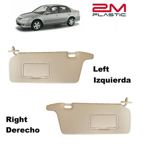 Sun Visor For Honda Civic 2001 2002 2003 2004 2005 Left Right Beige 2mplastic