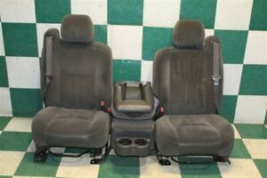 03 07 Gm Truck Gray Cloth Manual Split Bench Seat Set Center Console Jumpseat