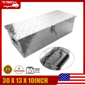 30in Truck Trailer Transport Box Aluminum Storage Case Toolbox With Keys Silver