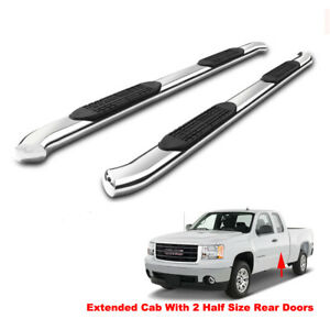 4 Bent S s Side Step For 99 18 Silverado sierra Extended double Cab Nerf Bars