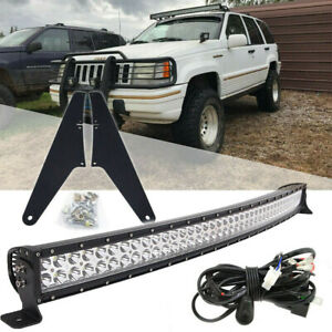 Over Roof 52 Curved 4d Led Light Bar Mount Kit For 99 04 Jeep Grand Cherokee Wj
