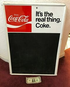 Vintage Coca Cola It's the real Thing Coke Metal Menu Chalk Board Sign (MB5)
