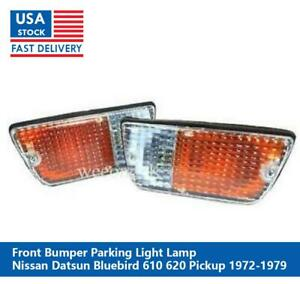 Pair Front Bumper Light Lamp For Nissan Datsun 620 Pickup 1972 1973 1974 1979