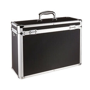 Portable Aluminum Locking File Storage Box Documents Organizer Home Office Black