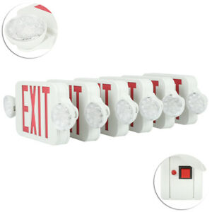 6 Pack Emergency Lights Red Exit Sign W dual Led Lamps Dual Heads Schools