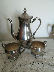 Antique Pilgrim Silver Plate Coffee Tea Pot With Sugar And Creamer Set