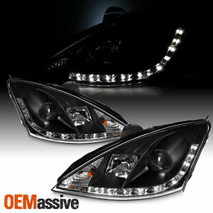 Fits 00 04 Ford Focus Black R8 Style Drl Daylight Led Projector Headlights Lamps