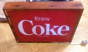 Large Lighted COKE Coca Cola Sign with Red Cedar Frame 30