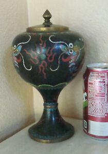 Old Black Chinese Cloisonne 5 Toe Dragons Lided Brass Jar Urn Vase 8 5 Lg