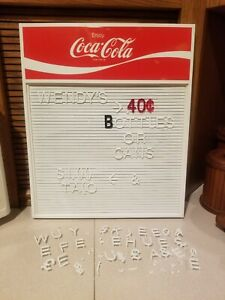 Vintage Coca Cola Menu Board w/  84 Letters /Characters Coke Sign 70s Great Cond