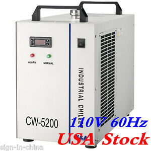 Usa 110v Cw 5200dh Water Chiller For One 130 150w Co2 Glass Laser Tube Cooling